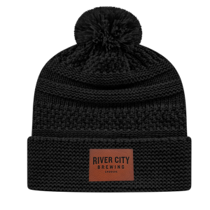 River City Leather Patch Cable Knit Beanie