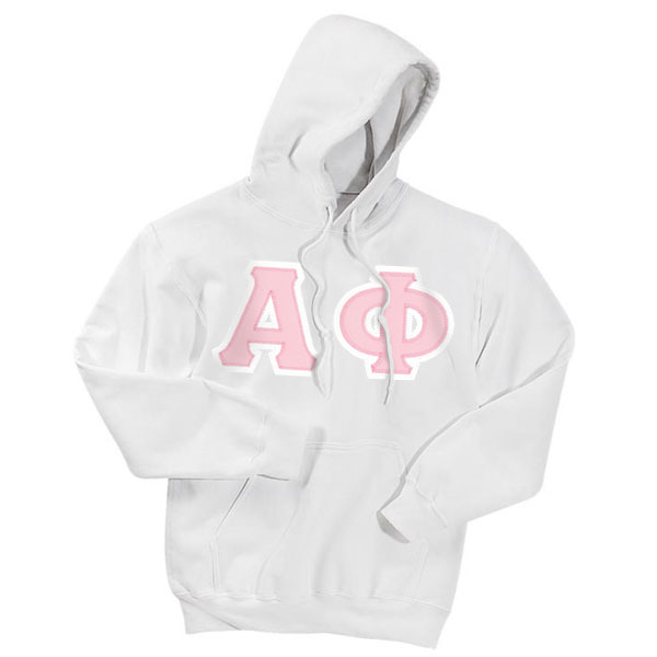 Alpha phi sewn on greek letter hooded sweatshirt alpha for Sorority sewn on letters