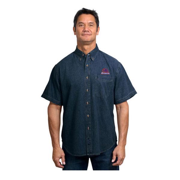 Boise state broncos men 39 s short sleeve denim shirt boise for No tuck golf shirts