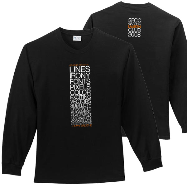 Sfcc graphic design club 100 cotton long sleeve t shirt for Long sleeve t shirts design