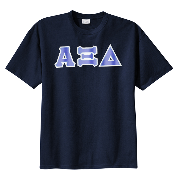 Alpha Xi Delta Sorority Tackle Twilled Greek Letter T-shirt ... on lambda sorority letters, tri delta letters, delta greek letters, delta sigma theta letters,