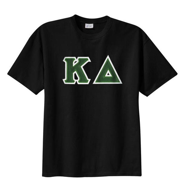 Kappa delta sewn on greek letter t shirt kappa delta for Sorority sewn on letters